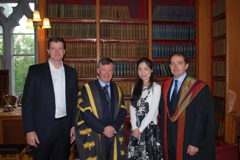 Wei at the Prize-Giving Ceremony with the President of University College Cork Dr Michael Murphy and her supervisors Dr Niall O'Sullivan and Dr Declan Jordan