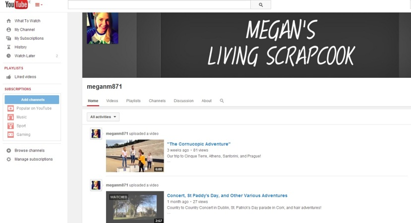 Watch some of Megan's videos here - https://www.youtube.com/user/meganm871