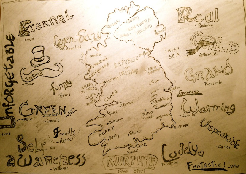 Words students use to describe their one year study abroad experience in UCC, Ireland.